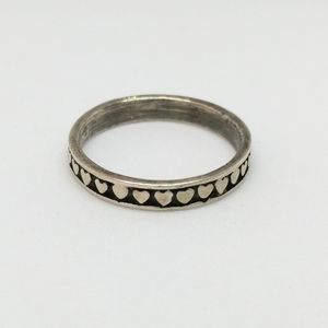 Sterling Silver Heart Band Ring